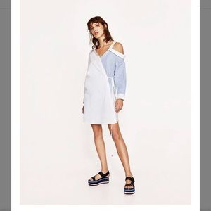 Zara Contrasting Shirt Dress with Cut-Out Collar